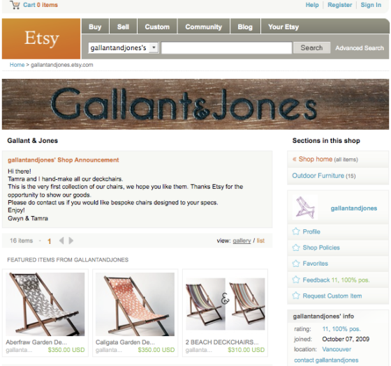 Gallant & Jones Etsy Page
