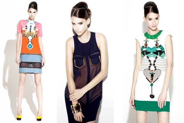 Mary Katrantzou first collection of tromp-l'oeil prints of oversized jewellery.