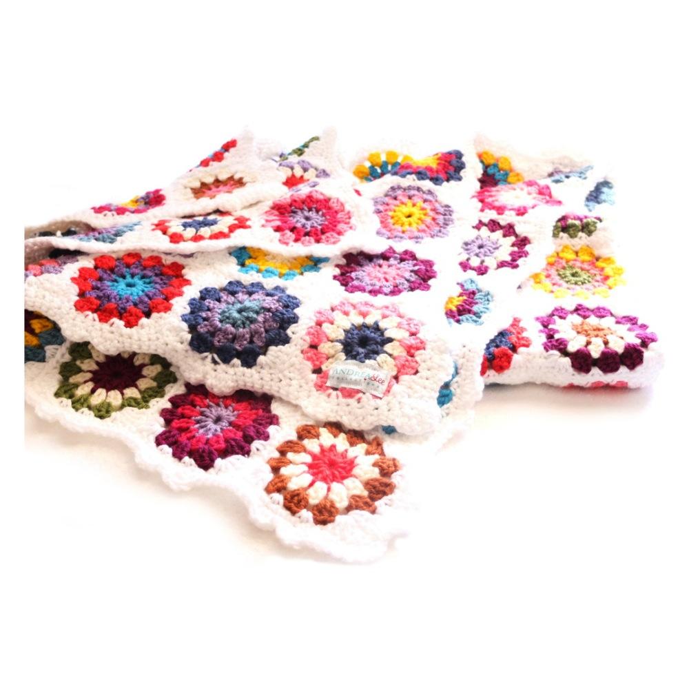 Colourful crochet blanket hand made