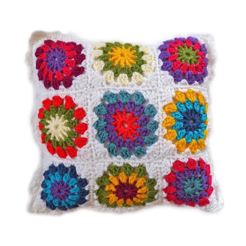 Colourful crochet cushion
