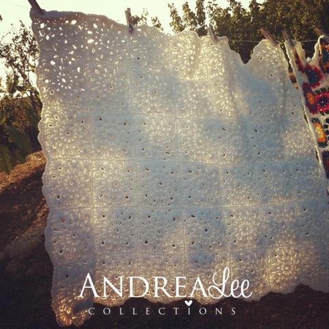 white crochet handmade blanket