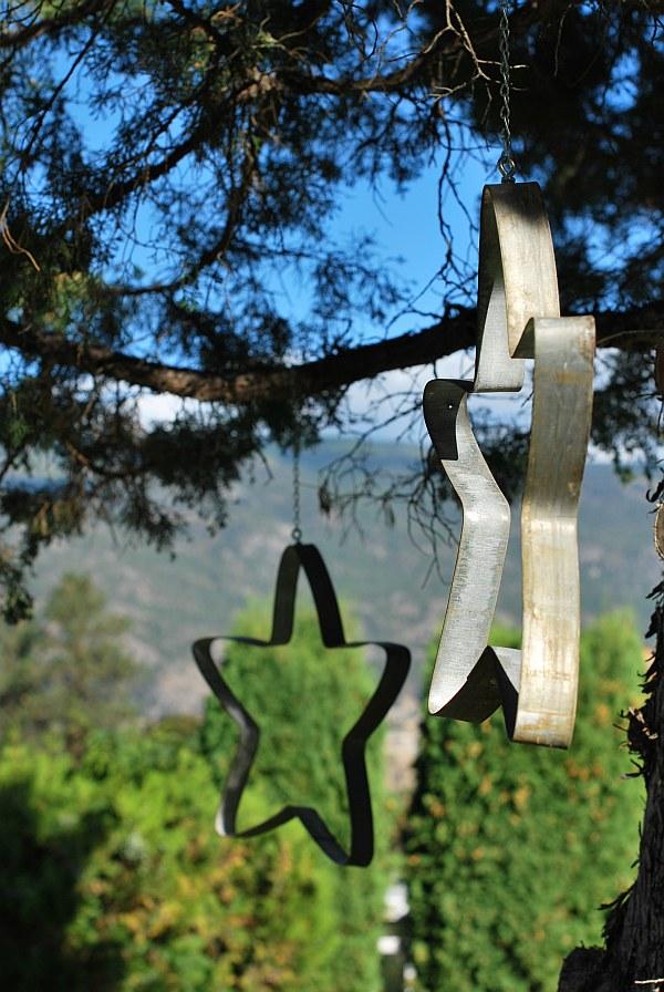 hanging star made of left over wine barrels