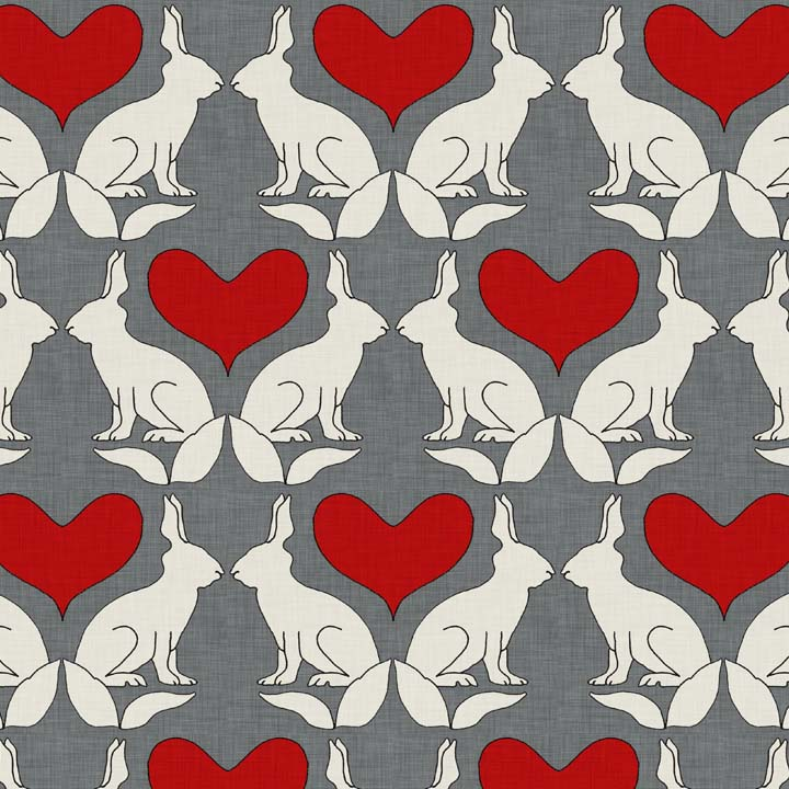 rabbit and heart linen by Holli Zollinger